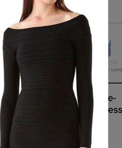 Herve Leger Candice Black Off Shoulder Dress L